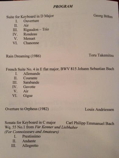 "Program for ""Music of Bach's Time and Our Time"""
