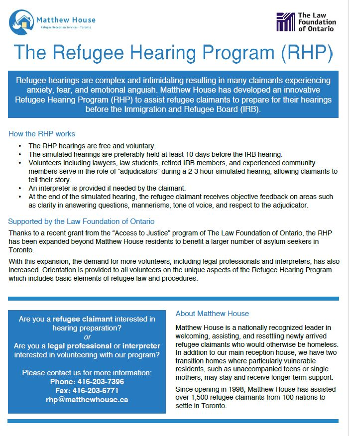 Refugee Hearing and Appeal Preparation – FCJ Refugee Centre