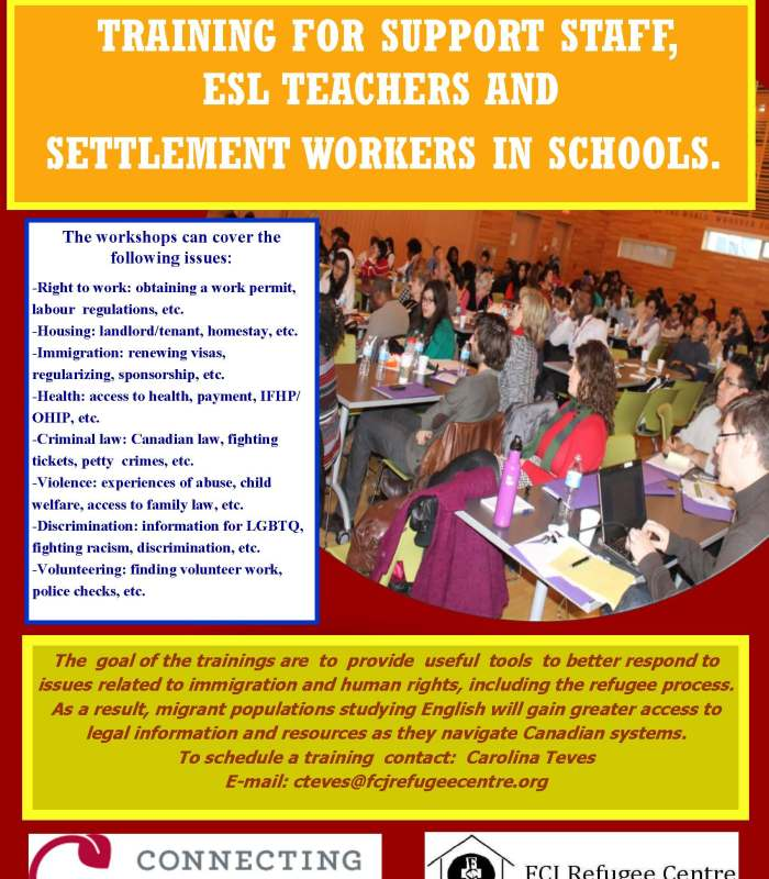 SETTLEMENT ESL TEACHERS AND SUPPORT STAFF TRAININGS