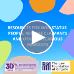 Webinar | Resources for non status people, refugee claimants and other precarius migrants