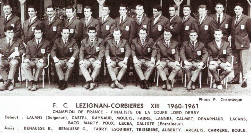 equipe 1961 - rugby lézignan corbières