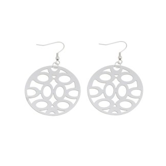Drop Earring Flat Round hollow