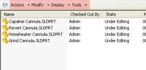 SolidWorks Enterprise PDM 2011 menu row