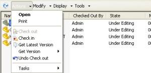 SolidWorks Enterprise PDM pulldown menus