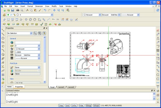 Mechanical drawing in DraftSight