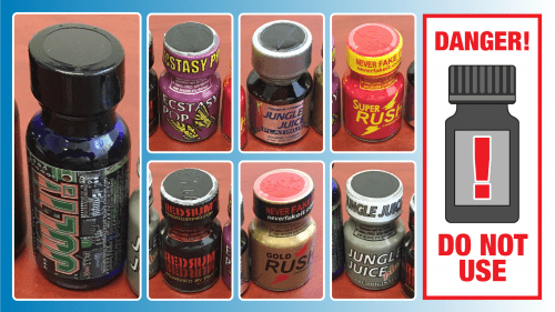 """Sample photos of nitrite """"poppers"""" and warning ingestion or inhalation may result in severe injury or death"""