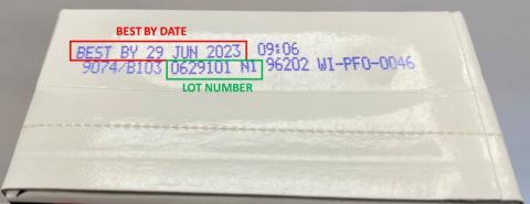 """BEST BY Date 29 JUN 2023, Lot Number 0629101 N1"""