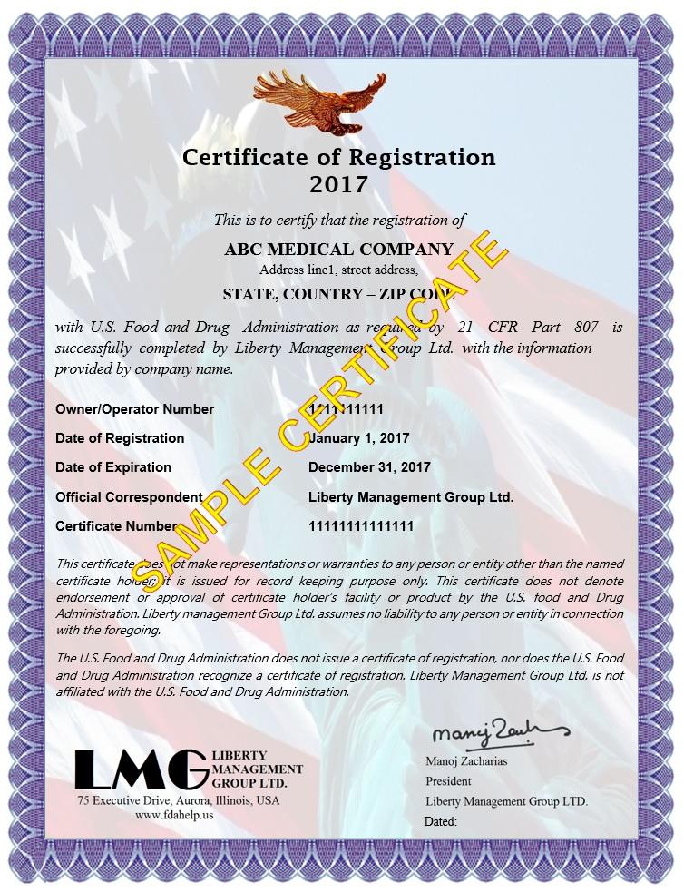 Certificate Of Fda Registration Fdahelp Us