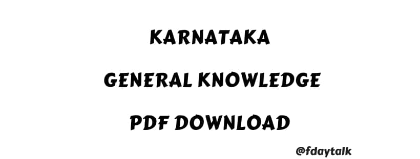 Karnataka General Knowledge PDF for KPSC Exams