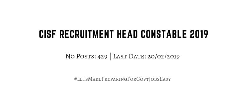 CISF Recruitment Head constable 2019