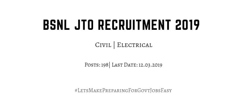 bsnl jto recruitment 2019