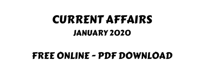 Current Affairs January 2020 PDF Download