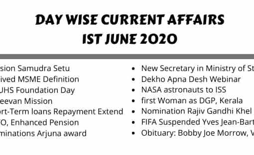 Today current affairs 1 june 2020