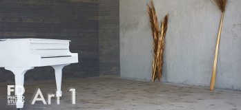 natural light photo studio with white staircase, white grand piano, concrete and wood walls and gold-sprayed branches