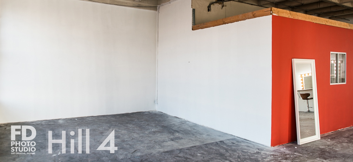 Rent Photo Studio Los Angeles Hill 4 spacious stage with red wall