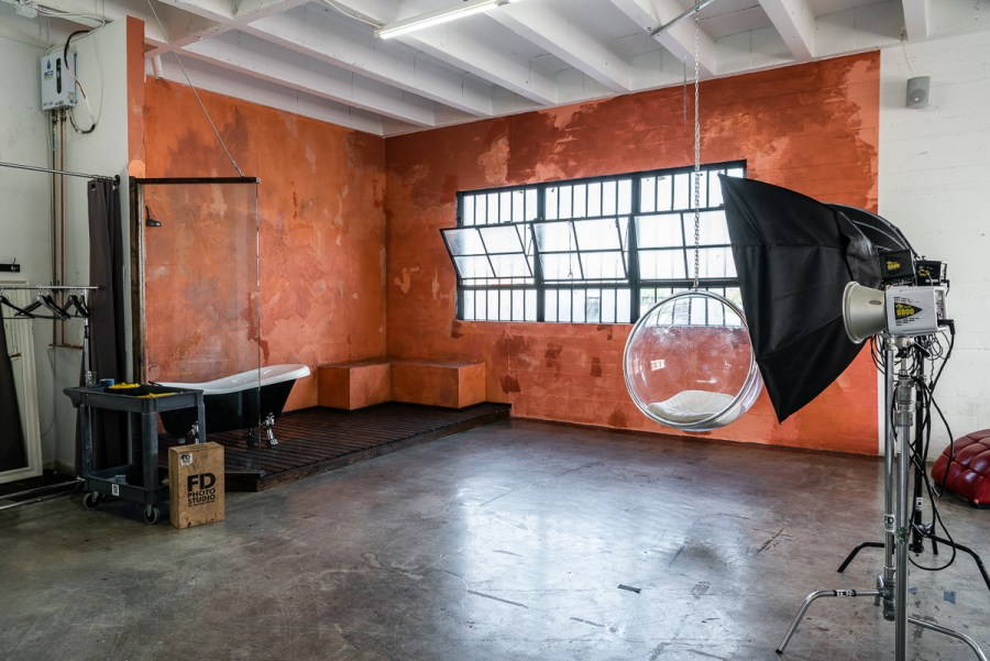 NEW PROPS: Grey Textured Fabric Backdrop in Studio Hill 6 -transparent egg-shaped hanging chai, Studio News, shower, Rental Studio, Renovation, red leather lounge chair, Photo Blog, moroccan tile shower corner, Los Angeles, LA Rental Studio, Hill Location, Hill 6, grey textured fabric backdrop, grass wall with white flowers, gloss floor, garland wall, FD photo studio, DTLA, Announcement