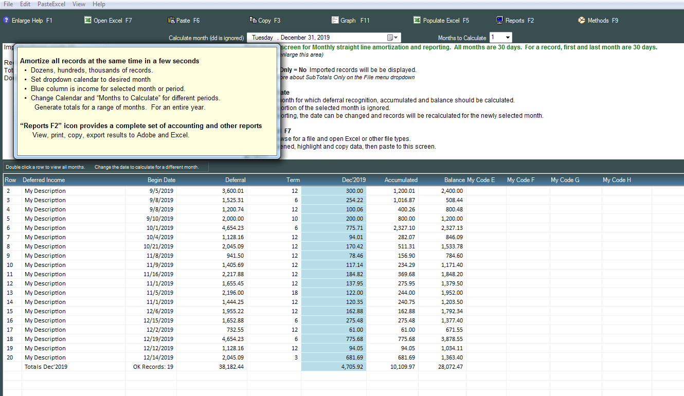 Deferred Income And Revenue Worksheet Amortization Software