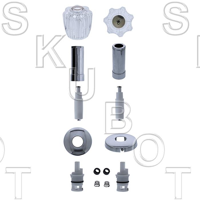 delta acrylic handle 2 valve tub shower kit