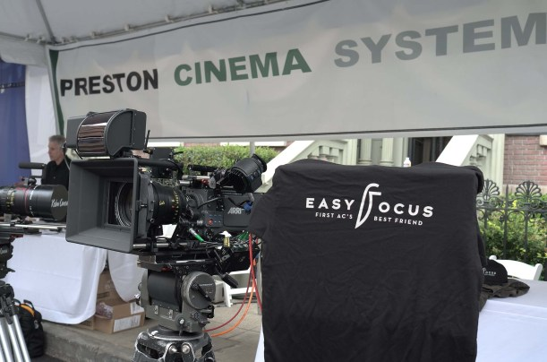 Easyfocus works with Preston Cinema system, shown at Preston Cinema booth at Cine Gear. Easyfocus is a distance measurement tool with a touchscreen, invented by Fritz Gabriel Bauer, AAC, designer of Moviecam and Arricam.