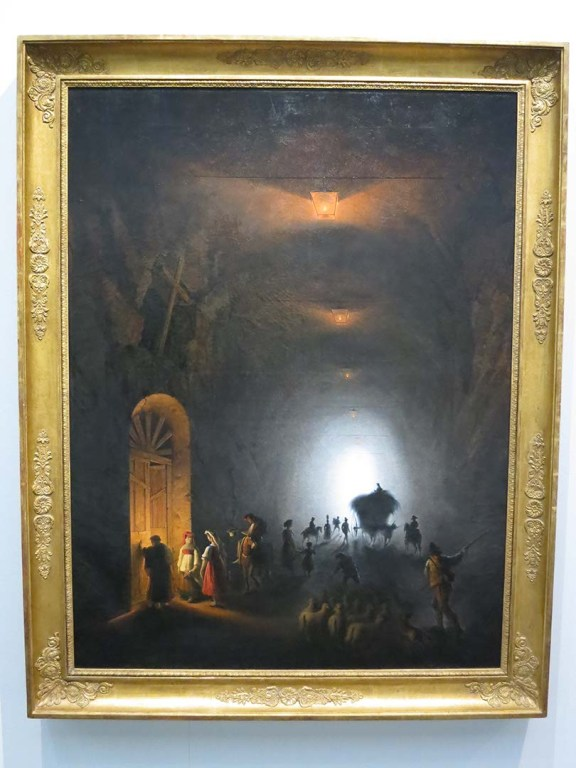 """Backlight in the Wallraf Museum in Cologne. Friedrich Nerly """"The Grotto at Posillipo"""" 1847."""