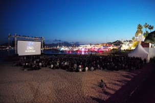 """Open air movies on the beach at Cannes. This screening was """"Jaws,"""" introduced by Richard Dreyfus"""