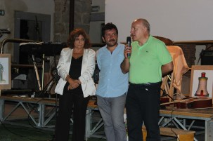 Laura Delli Colli, Chairman of SNGCI, the Italian Union of Film Critics and Journalist, Vincenzo Condorelli (AIC) Artistic Director of Terre di Cinema, Pietro Di Miceli, director of the Sicily Film Commission during the closing night of Terre di Cinema.