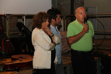 Laura Delli Colli, Chairman of SNGCI, the Italian Union of Film Critics and Journalist, Vincenzo Condorelli (AIC) Artistic Director of Terre di Cinema, Pietro Di Miceli, director of the Sicily Film Commission during the closing night of Terre di Cinema.