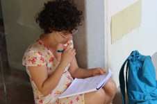 Student director Eilat Ben-Elyahu (Tel Aviv University) reviewing the shotlist on set