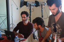 Guest cinematographer Guy Raz preparing the lighting exercise with student cinematographer Giuseppe Basile Rodriguez (Centro Sperimentale di Cinematografia) and student director Alon Sahar (Tel Aviv University).