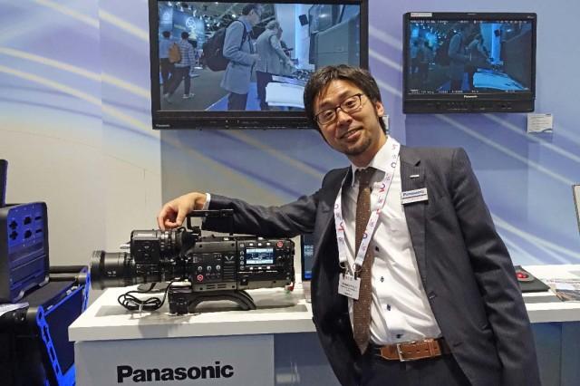 Takahiro Mitsui, Panasonic VariCam Engineer at IBC 2014 with VariCam 35
