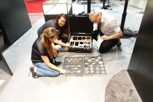 Set up day at the Leica booth