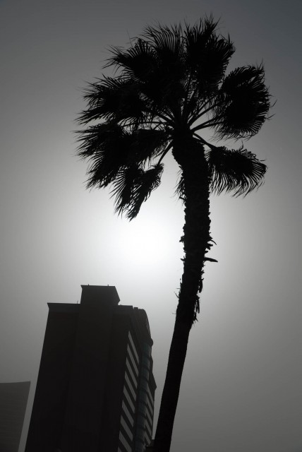 A Las Vegas Dust Storm on the second day of NAB 2015 blots the sun.
