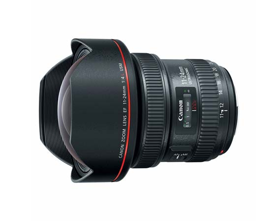 Canon EF 11-24 mm f/4L USM Wide Zoom: rectilinear full-frame 24x36 mm DSLR lens. Diameter: 4.3 in. Weight: 41.6 oz.