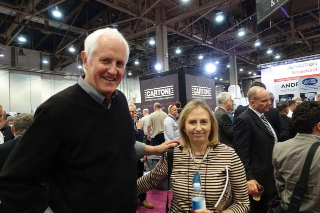 The ubiquitous Garrett Brown, with Elisabetta Cartoni, celebrating the Cartoni Company's 80th anniversary at the NAB 2015 Cartoni Booth. In addition to manufacturing the renowned Cartoni heads and tripods, the company also distributes Steadicam in Italy.