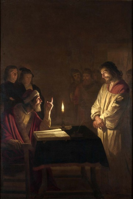 Christ before the High Priest. By Gerard van Honthorst .circa 1617 Oil on canvas. 272 x 183 cm (107.1 x 72 in). National Gallery, London