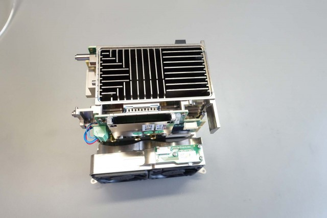 Sensor module, lens mount, cooling and circuits are all assembled as a single unit.