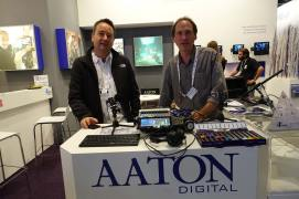 Aaton Digital's Pascal Grillere and Pierre Michoud with new Cantar X3