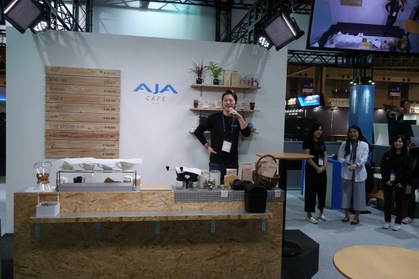 AJA booth - serving all flavors of products