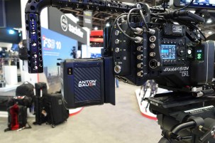 Anton/Bauer Cine battery in hand-held position on DXL