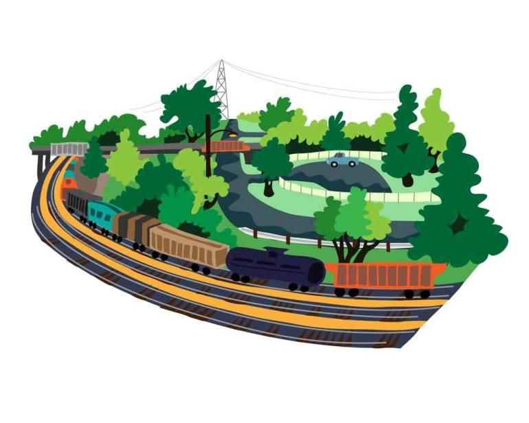 Columbia Park: Train Tracks and Roads