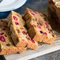 Gluten Free Cranberry Bread with Chocolate Chips