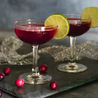 Sparkly Rum and Cranberry Cocktail with Homemade Simple Syrup