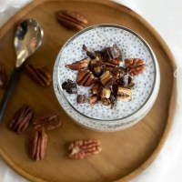 Vanilla Overnight Chia Pudding with Dates and Pecans