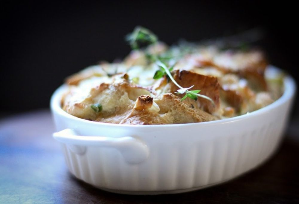Savory Leek Bread Pudding with Gruyere and Thyme