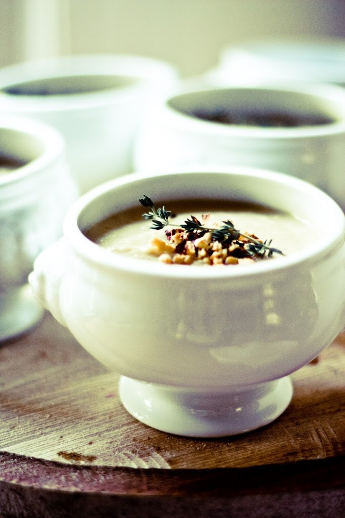 Roasted Parsnip Apple Soup with Toasted Hazelnuts