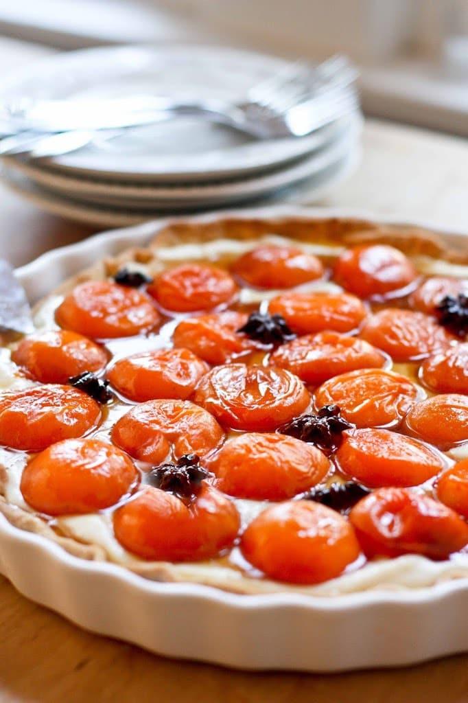 Honey Roasted Apricot Tart with Mascarpone Cream and Star Anise