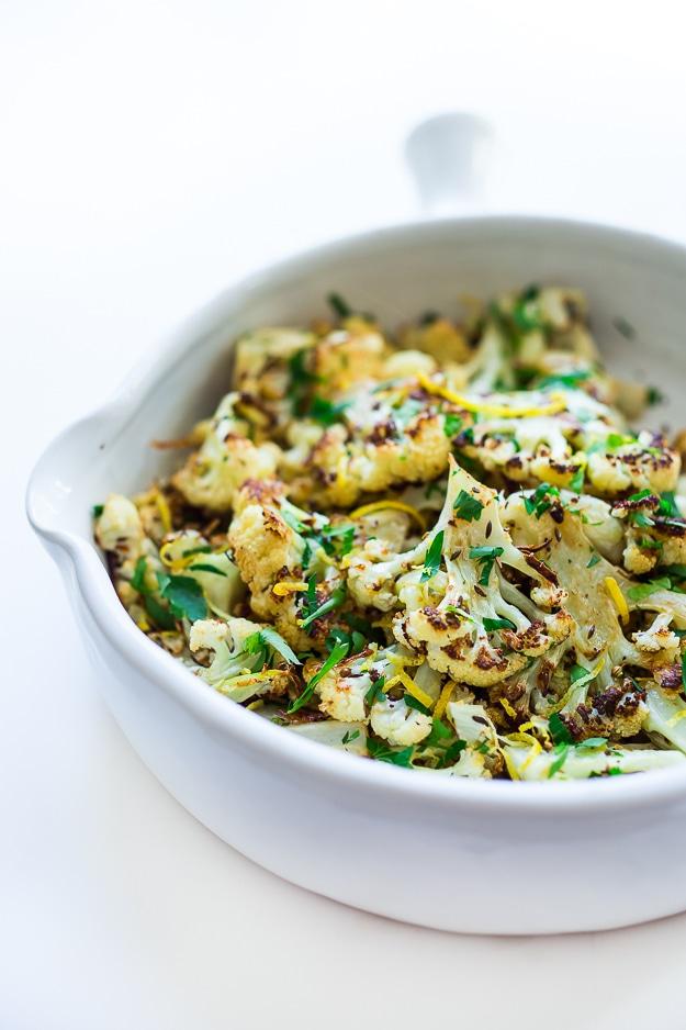 Roasted Cauliflower with garlic, lemon and coriander