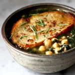 Kale, Chickpea and Chicken Soup with Rosemary Croutons | www.feastingathome.com