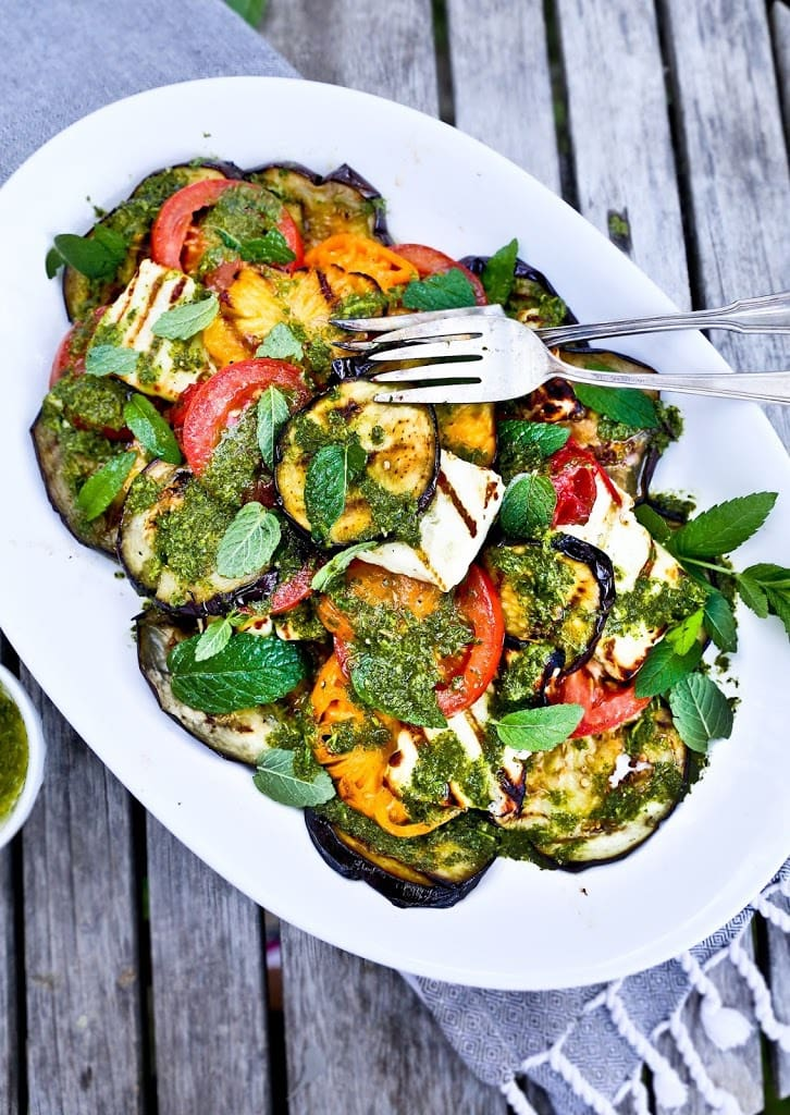 Grilled Halloumi Salad with Eggplant & Mint Dressing