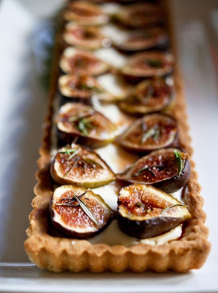 Roasted Fig Tart with Honey, Goat cheese and Mascarpone